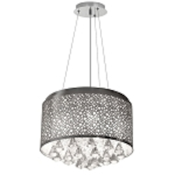 "Dominique Collection 5-Light 14"" Polished Chrome Laser Cut Drum Pendant DOM-8585C-PC"