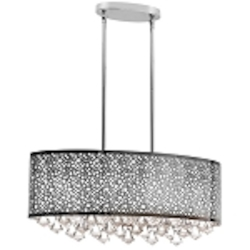"Dominique Collection 6-Light 24"" Polished Chrome Oval Pendant with Laser Cut Shade DOM-8587C-PC"