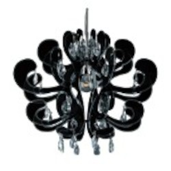 "Mardi Gras Series 1-Light 24"" Black Acrylic Mini Chandelier with Clear Crystals E20513-62"