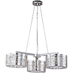 "Inca Collection 3-Light 27"" Polished Chrome Hanging Pendant with Steel Web Shades and Crystal Accents E21303-10PC"