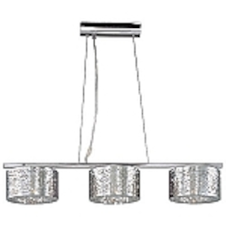 "Inca Collection 3-Light 37"" Polished Chrome Island Light with Steel Web Shades and Crystal Accents E21304-10PC"