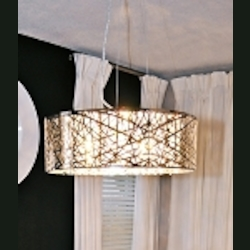 "Inca Collection 9-Light 23"" Polished Chrome Hanging Pendant with Steel Web Shade and Crystal Accents E21308-10PC"