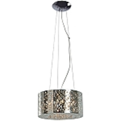 "Inca Collection 7-Light 15"" Polished Chrome Hanging Pendant with Steel Web Shade and Crystal Accents E21309-10PC"