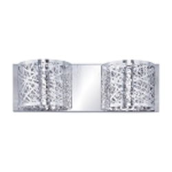 "Inca Collection 2-Light 15"" Polished Chrome Bathroom Vanity Fixture with Steel Web Shades and Crystal Accents E21311-10PC"