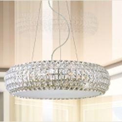 "Bijou Collection 10-Light 25.5"" Polished Chrome Pendant and Crystal Glass E21805-20PC"