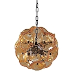 Amber Murano 8 Light 12in. Wide Pendant from the Lalique Collection