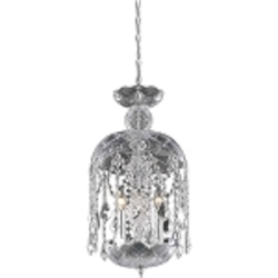 "Rococo Collection 3-Light 20"" Chrome Mini Crystal Pendant Chandelier 7803D11C/RC"