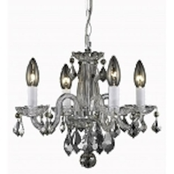 "Rococo Collection 4-Light 15"" Chrome Crystal Mini Chandelier 7804D15C/RC"