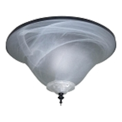 All Weather Matte Black Ceiling Fan Bowl Light Kit with Alabaster Swirl Glass ELK113-2MBK-W