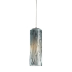 "Maple Collection 1-Light 4"" Satin Nickel Mini Pendant with Maple Dusk Glass 551-1MD"