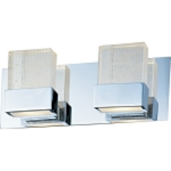 "Fizz Collection 2-Light 14"" Polished Chrome Bathroom Vanity Fixture with Etched Bubble Glass E22732-89PC"