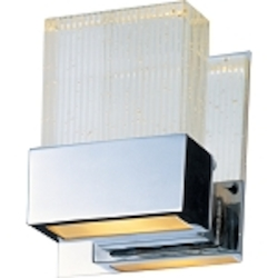 "Fizz Collection 1-Light 5"" Polished Chrome Bathroom Vanity Fixture with Etched Bubble Glass E22731-89PC"