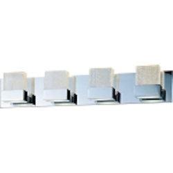 "Fizz Collection 4-Light 29"" Polished Chrome Bathroom Vanity Fixture with Etched Bubble Glass E22734-89PC"