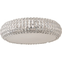 "Bijou Collection 6-Light 15.75"" Polished Chrome Flush Mount and Crystal Glass E21801-20PC"