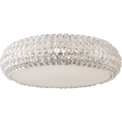 "Bijou Collection 9-Light 21"" Polished Chrome Flush Mount and Crystal Glass E21802-20PC"