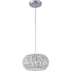 "Bijou Collection 3-Light 9.5"" Polished Chrome Pendant and Crystal Glass E21803-20PC"