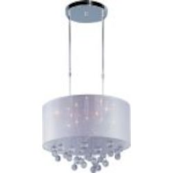"Veil Collection 9-Light 21"" Polished Chrome Pendant with Silver Sheer Shade and Crystal E22385-120PC"