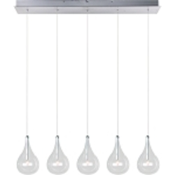 "Larmes Collection 5-Light 30"" Polished Chrome Linear Pendant with Clear Glass E23115-18"