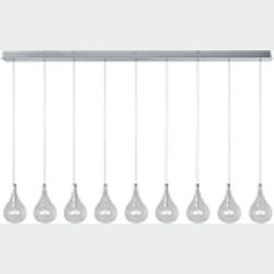 "Larmes Collection 9-Light 56"" Polished Chrome Linear Pendant with Clear Glass E23119-18"