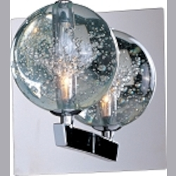 "Orb Collection 1-Light 6"" Polished Chrome Wall Sconce and Crystal Bubble Glass E24250-91PC"