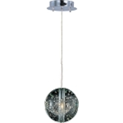 "Orb Collection 1-Light 7"" Polished Chrome Pendant and Crystal Bubble Glass E24251-91PC"