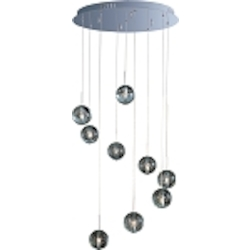"Orb Collection 9-Light 21"" Wide Polished Chrome Adjustable Pendant and Crystal Bubble Glass E24254-91PC"