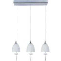 "Chute Collection 3-Light 18"" Polished Chrome Linear Pendant and Matte White Glass E24353-11PC"