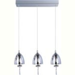 "Chute Collection 3-Light 18"" Polished Chrome Linear Pendant and Mirror Chrome Glass E24353-81PC"