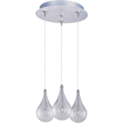"Larmes Collection 3-Light 11"" Satin Nickel RapidJack Round Pendant and Canopy with Clear Glass E94610-18SN"