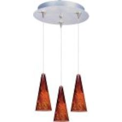 "Minx Collection 3-Light 11.75"" Satin Nickel Pendant and Amber Lava Glass E94629-102SN"