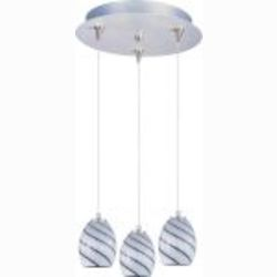 "Minx Collection 3-Light 11.75"" Satin Nickel Pendant and Grape Swirl Glass E94637-108SN"