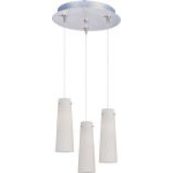 Satin Nickel / White Spiral Glass 3 Light 11.75in. Wide RapidJack Pendant and Canopy from the Spiral Collection