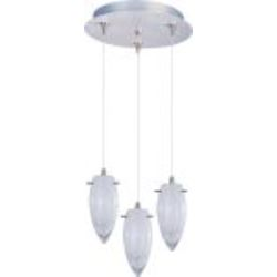 "Minx Collection 3-Light 11.75"" Satin Nickel Pendant and White Cirrus Glass E94641-113SN"