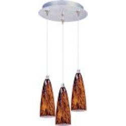 Satin Nickel / Amber Lava Glass 3 Light 11.75in. Wide RapidJack Pendant and Canopy from the Amber Lava Collection