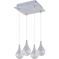 "Larmes Collection 4-Light 10"" Satin Nickel RapidJack Square Pendant and Canopy with Clear Glass E94710-18SN"