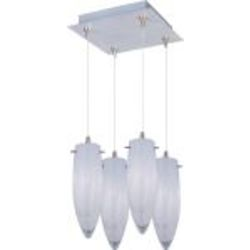 Satin Nickel / White Cirrus Glass 4 Light 9.5in. Tall RapidJack Pendant and Canopy from the White Cirrus Collection