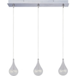 "Larmes Collection 3-Light 24"" Satin Nickel RapidJack Linear Pendant and Canopy with Clear Glass E94810-18SN"