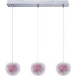 Brushed Aluminum 3 Light Adjustable Height Pendant With Red Shade From The Minx Collection - Bulbs Included