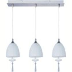 "Minx Collection 3-Light 11"" Satin Nickel Linear Pendant and Mirror Chrome Glass E94827-81SN"