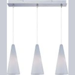 "Minx Collection 3-Light 10"" Satin Nickel Linear Pendant and White Lava Glass E94828-101SN"
