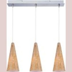 Satin Nickel / Gold Lava Glass 3 Light 24.25in. Wide RapidJack Pendant and Canopy from the Lava Collection