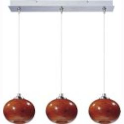 Satin Nickel / Amber Cloud Glass 3 Light 24.25in. Wide RapidJack Pendant and Canopy from the Amber Cloud Collection