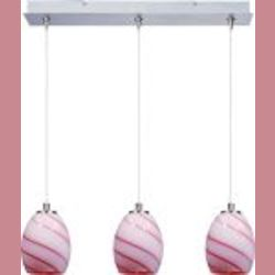 Satin Nickel / Cherry Swirl Glass 3 Light 24.25in. Wide RapidJack Pendant and Canopy from the Swirl Collection