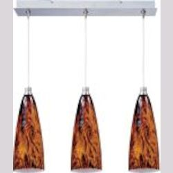 "Minx Collection 3-Light 10"" Satin Nickel Linear Pendant and Amber Lava Glass E94843-102SN"