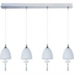 "Minx Collection 4-Light 34.25"" Satin Nickel Linear Pendant and Mirror Chrome Glass E94927-81SN"