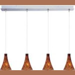 "Minx Collection 4-Light 34.25"" Satin Nickel Linear Pendant and Amber Leopard Glass E94931-104SN"