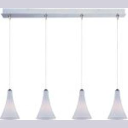 "Minx Collection 4-Light 34.25"" Satin Nickel Linear Pendant and White Leopard Glass E94932-105SN"