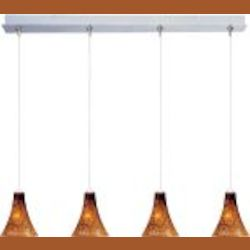 "Minx Collection 4-Light 34.25"" Satin Nickel Linear Pendant and Amber Leopard Glass E94933-104SN"