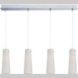 "Minx Collection 4-Light 34.25"" Satin Nickel Linear Pendant and White Spiral Glass E94939-112SN"