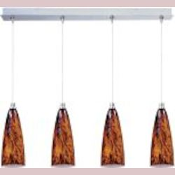 "Minx Collection 4-Light 34.25"" Satin Nickel Linear Pendant and Amber Lava Glass E94943-102SN"